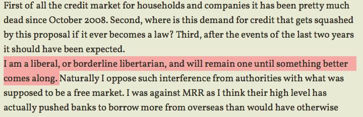 """În septembrie 2011, Florin Cîțu își încadra viziunile drept liberale """"sau la limita cu libertarianismul"""". Sursă: florincitu.wordpress.com"""