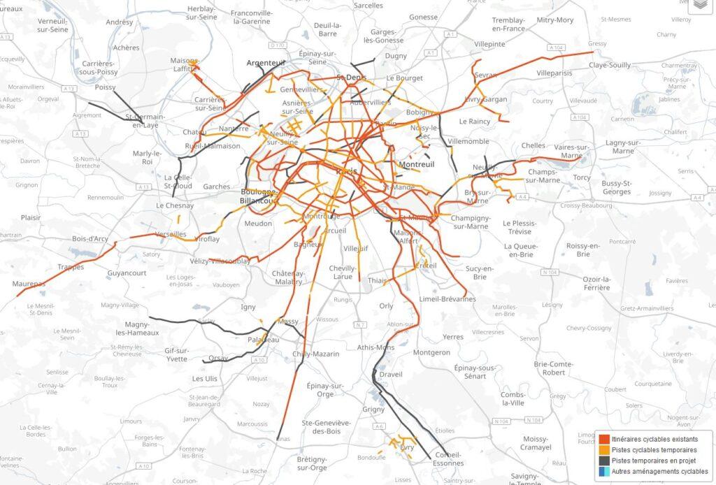 Cum arată harta pistelor de bicicletă din Paris